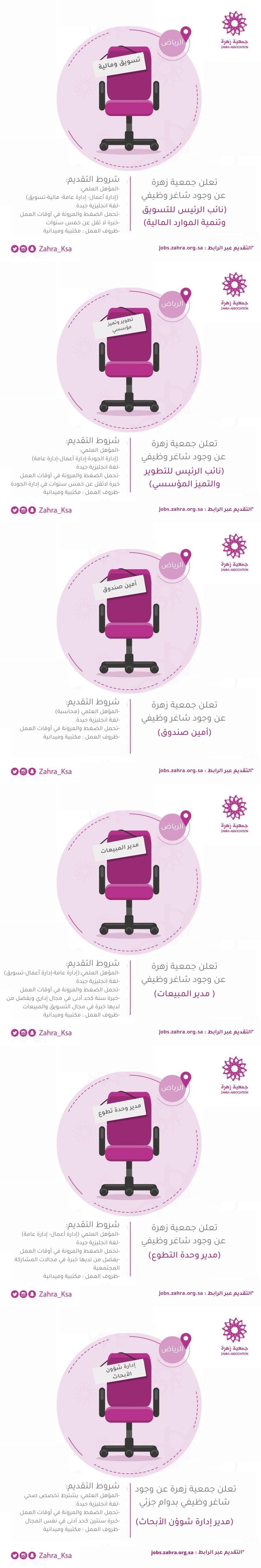 وظائف إدارية في عدة تخصصات فى جمعية زهرة فى الرياض منطقة الرياض